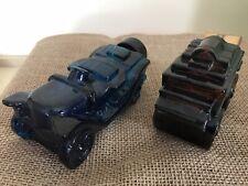 2 Vintage Avon Train & Car Perfume Bottles empty bottle brown amber cobalt blue