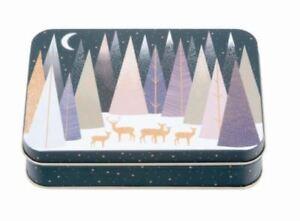 Sara Miller Frosted Pine Christmas Small Rectangular Storage Tin 14x3.5x10