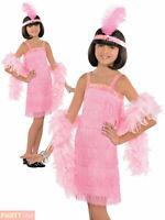 Girls Pink Charleston Flapper Costume Child 1920s Gatsby Fancy Dress Kids Outfit