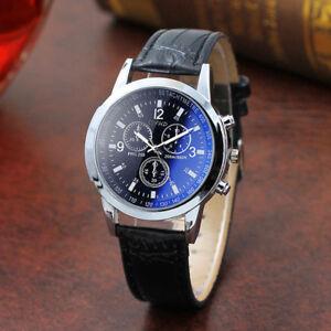 Fashion Men's Blu Ray Glass Watch Neutral Quartz Simulates The Wrist Watches