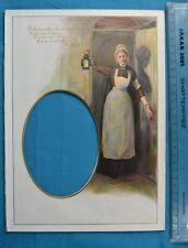 Antique Victorian Colour Printed Album Photo Mount Longfellow Poem Lady & Lamp