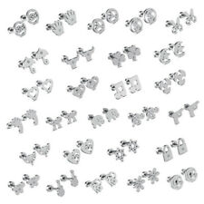 316L Stainless Steel Silver Fashion Women Girl Stud Earrings Jewelry Screw Back