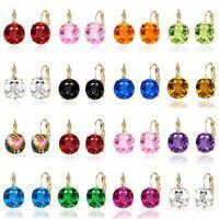 Fashion Handmade Lady Elegant Round Crystal CZ Ear Stud Earrings Jewellery Gift