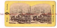 1870s Scotland Edinburgh Stone Bridge over Railroad Tracks Station Stereoview