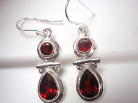 Faceted Garnet 2-Gem Teardrop 925 Sterling Silver Dangle Earrings