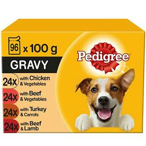 96 x 100g Pedigree Adult Wet Dog Food Pouches Mixed Selection in Gravy