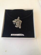 on a Black Cord Necklace Sabre-Toothed Cat Ttp Pewter Pendant