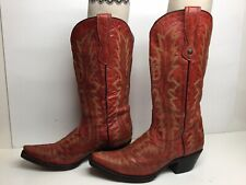 WOMENS CORRAL SNIP TOE COWBOY RED BOOTS SIZE 8 M