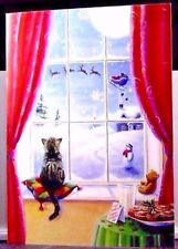 Christmas Sweet Cat Window Watching Santa Claus Sleigh Snow Greeting Card NEW