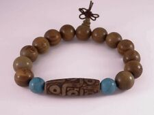 Huge Buddha Sandalwood Turquoise Big 9-eye dZi Bead Prayer Beads Mala Bracelet