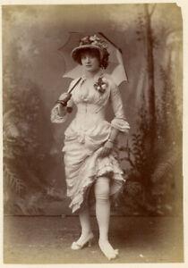 VICTORIAN WOMAN SHOWING LEG PARASOL HAT LOW CUT DRESS SEXY SEPIA ANTIQUE PHOTO