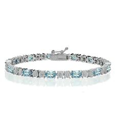 Sterling Silver Blue Topaz and Diamond Accent Oval Tennis Bracelet
