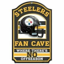 Pittsburgh Steelers 11x17 Licensed NFL Wood Football Fan Cave Sign