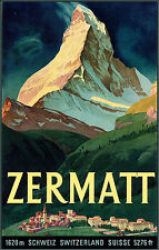 1940s Swiss Ski poster Zermatt Schweiz Switzerland 13 x 19 Giclee print