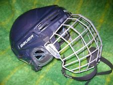 BAUER NAVY W/SILVER CAGE HH8000S(52-57cm)2010 MEN'S HOCKEY HELMET;MADE IN CANADA
