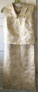 "Vintage Gold Metallic Floral Brocade Straight Skirt Blouse 60's evening 36"" Bust"