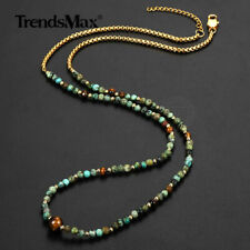 Tiger Eye Bead Necklace Stainless Steel Box Link Chain African Turquoise Jewelry