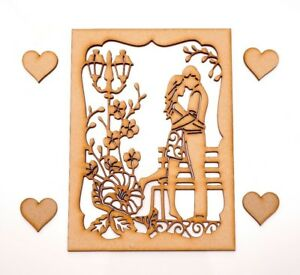 Wooden MDF Plaque - Lovely couple hugging next to the bench in the park
