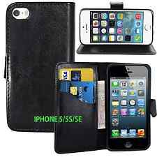 BLACK Wallets leather plain Case Cover with clip and Card Slots for iPhone 5/5S