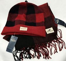 Hollister by Abercrombie Fitch BEANIE HAT & SCARF SET Red Plaid Men Women GIFT