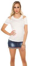 Sexy Cold Shoulder Top T-Shirt Shirt Weiß Schulterfrei mit Dekostäbe 34 36 38