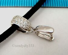 1x RHODIUM plated STERLING SILVER CZ CRYSTAL PENDANT BAIL PINCH CLASP #2457
