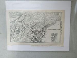 Original Vintage Map of the Pennsylvania R.R. System, 1926