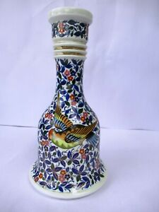 "Antique 19Th C. Persian Qajar Hooka Baise Porcelain Floral Depicting Bird Rare""F"