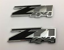"PAIR SMALL CHEVY GMC TRUCK Z71 4X4 EMBLEMS CHROME BLACK GREY 3-1/4"" X 1-1/4"" NEW"
