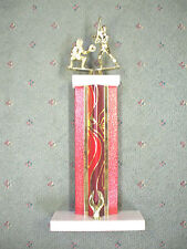 tall red metal column trophy softball female dual action white marble base