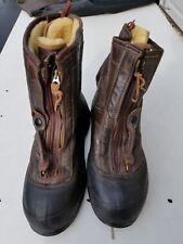 WW2 US Navy Sheep Skin Boots Size Large MFG Hood Model M380B