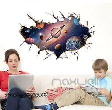 Planet Earth Galaxy Nebula 3D Cracked Wall Stickers Decals Kids Boy Study Decor
