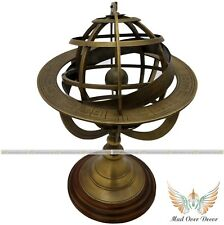 "VINTAGE BRASS ENGRAVED SPHERE HOROSCOPE ASTROLABE 10""ARMILLARY GLOBE DESK DECOR"