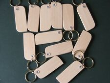 KEYRING BLANKS-SYCAMORE HARDWOOD-PYROGRAPH-ENGRAVE/Stain-£6.95 FOR 12-POST FREE