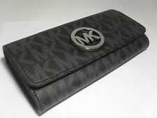 NWT Michael Kors Black PVC MK Signature Fulton Flap Continental Carryall Wallet