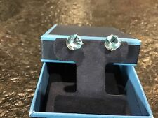 Round Swiss Blue Topaz Stud Earrings in 14K White Gold