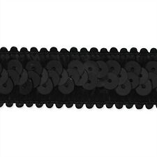 "CLEARANCE 50 YARD White// Black Stretch Cupped Sequin lace trim 3.5/"" USA Shipper"