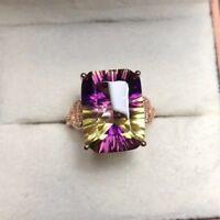 Amethyst Yellow Crystal 925 Silver Fashion Wedding Jewelry Rings Size Adjustable