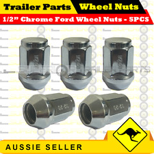 "5PCS - 1/2"" Chrome Alloy Wheel Rim Nuts - Suits Ford Stud Pattern - Trailers"