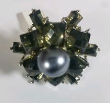Cocktail Ring Gray Faux Pearl Rhinestone Cluster Silver Tone Adjustable Band VTG