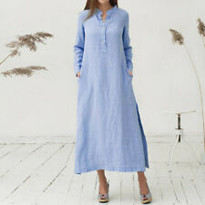 US Womens Long Sleeve Casual Dress Ladies V Neck Loose Long Oversize Shirt Dress