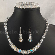 AB White Crystal Faceted Beads Necklace Bracelet Earrings SET G4864