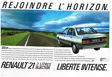 Publicité Advertising 1986 (2 pages) Renault 21 2 litres Injection