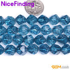 6,8,10,12mm Faceted Blue Kyanite Gemstone Beads For Jewelry Making Strand 15''