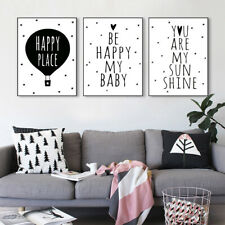 Black White Motivational Minimalist Canvas Poster Baby Room Wall Decoration