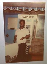 Vintage 70s Found PHOTO Black Man At Vintage Phone Booth In Reno Nevada State