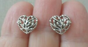 PANDORA, ALE Signed, Sterling 925 Stamped, Openwork Small Hearts Stud Earrings S