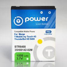 for HTC Merge T-Mobile myTouch 4G ThunderBol HD-6400 Extended Battery 1550mAh