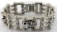 "Harley Fat Boy Motorcycle Chain Stainless Steel Biker Bracelet 1"" Wide 8"" Length"