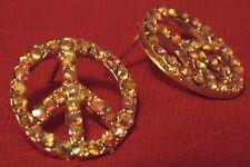 Rainbow Rhinestone Silver-tone Peace Sign Stud Earrings 17mm